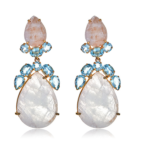 Quartz Moonstone Earrings by BOUNKIT