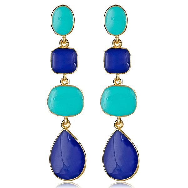 Turquoise & Lapis Earrings  by KENNETH JAY LANE