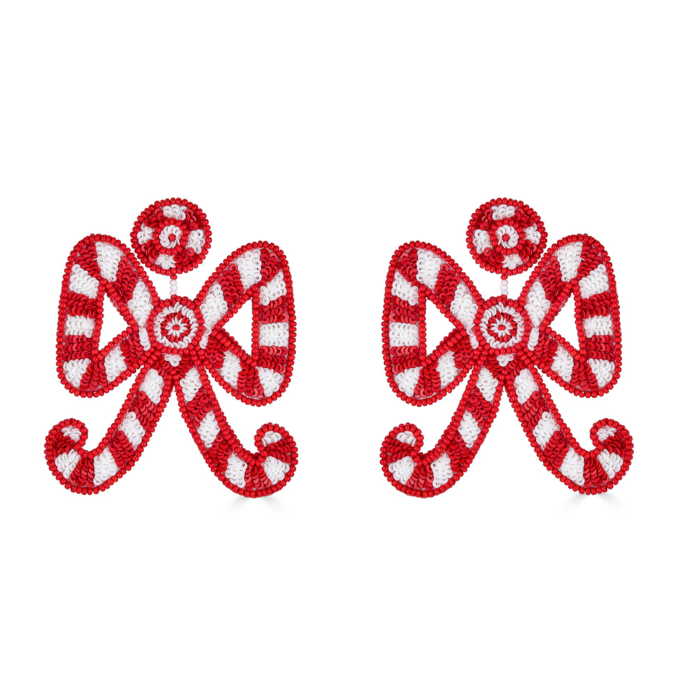 Candy Cane Bow Earrings by FRENCH AND FORD