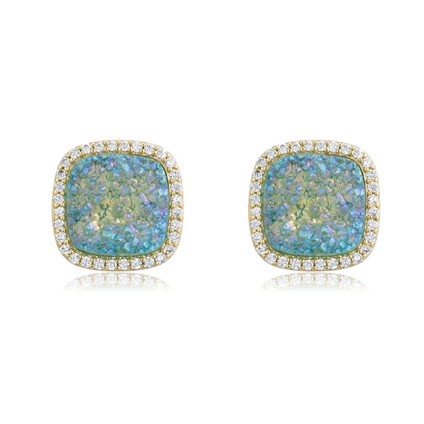 Light Blue Stud Druzy Earrings by MARCIA MORAN