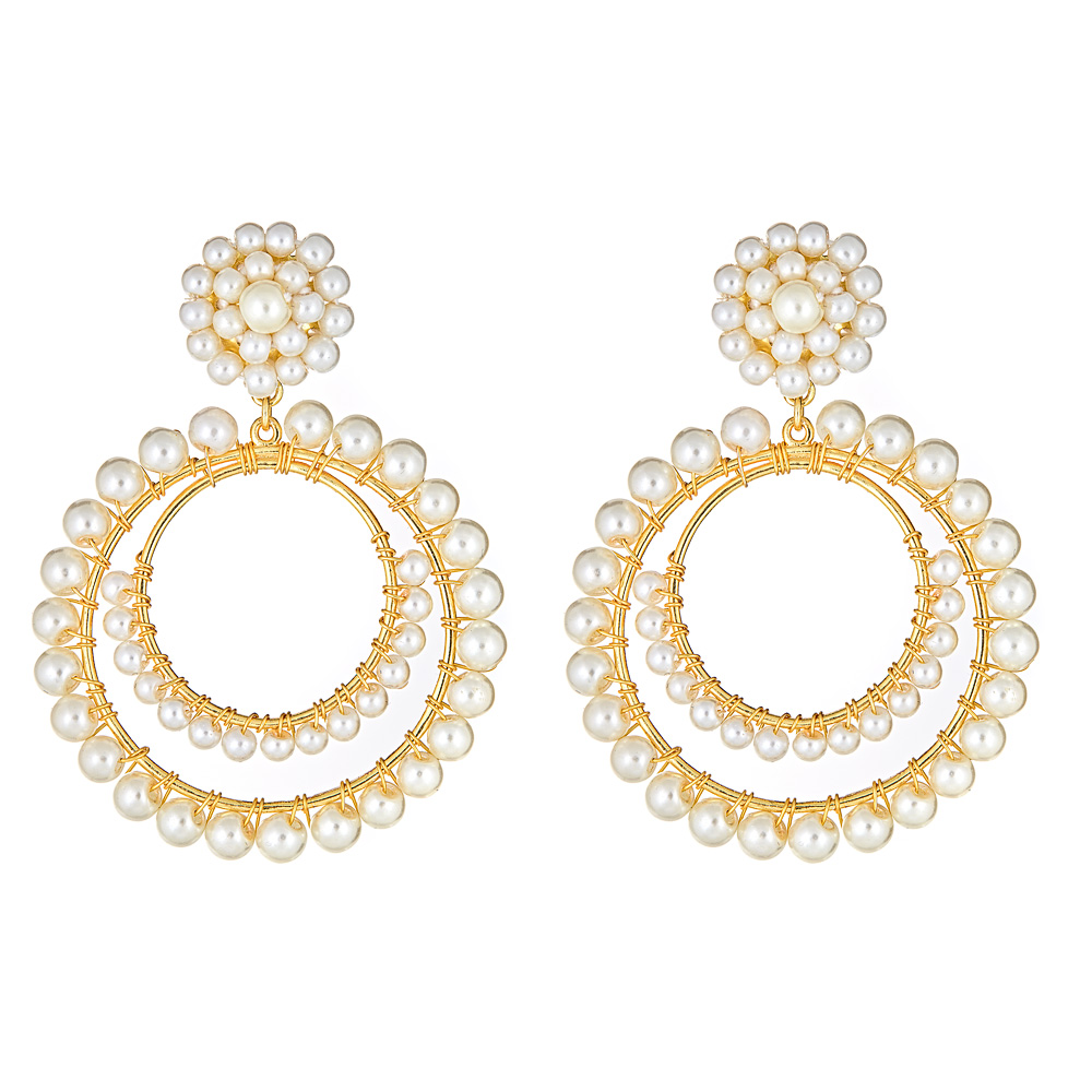 Caroline Pearl Hoop Earrings by LISI LERCH