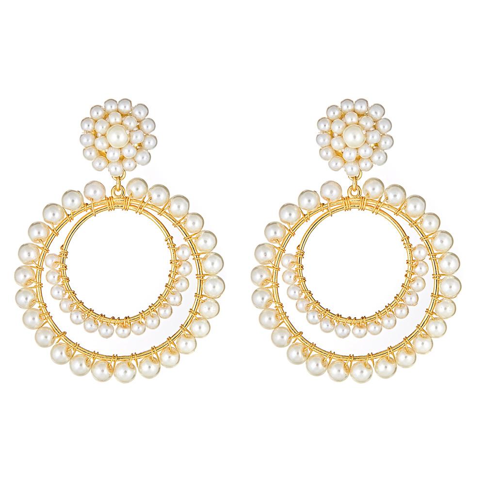 Caroline Pearl Hoop Earrings by LISI LERCH