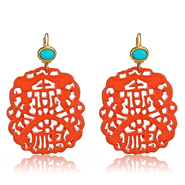 Carved Coral Earrings by KENNETH JAY LANE