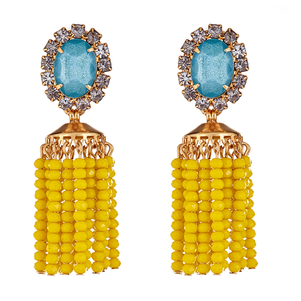 Cashel Yellow Beaded Earrings by ELIZABETH COLE