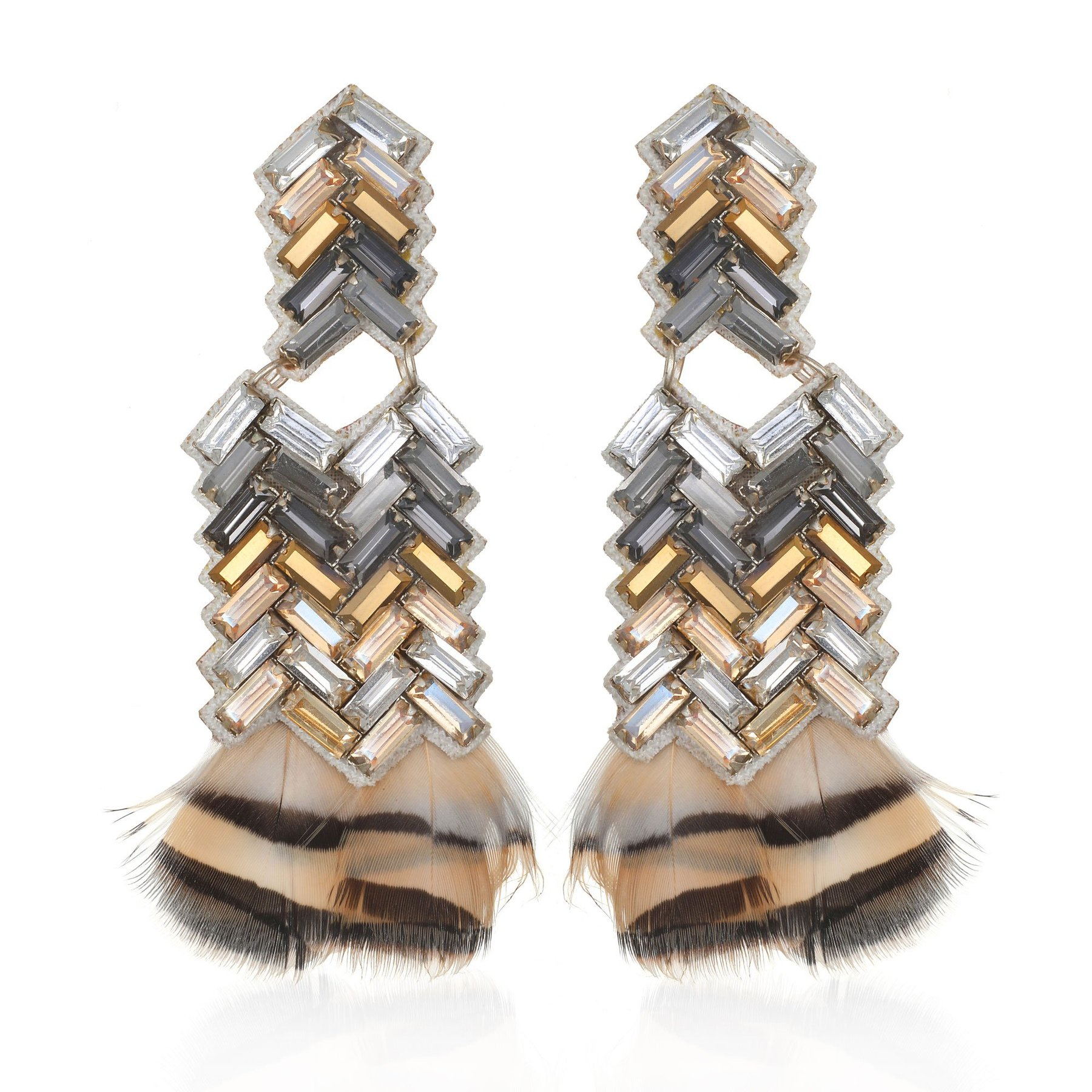 Chevron Feather Earrings by SUZANNA DAI
