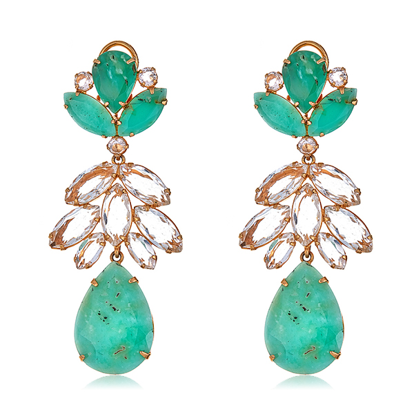 Chrysoprase Quartz Earrings  by BOUNKIT