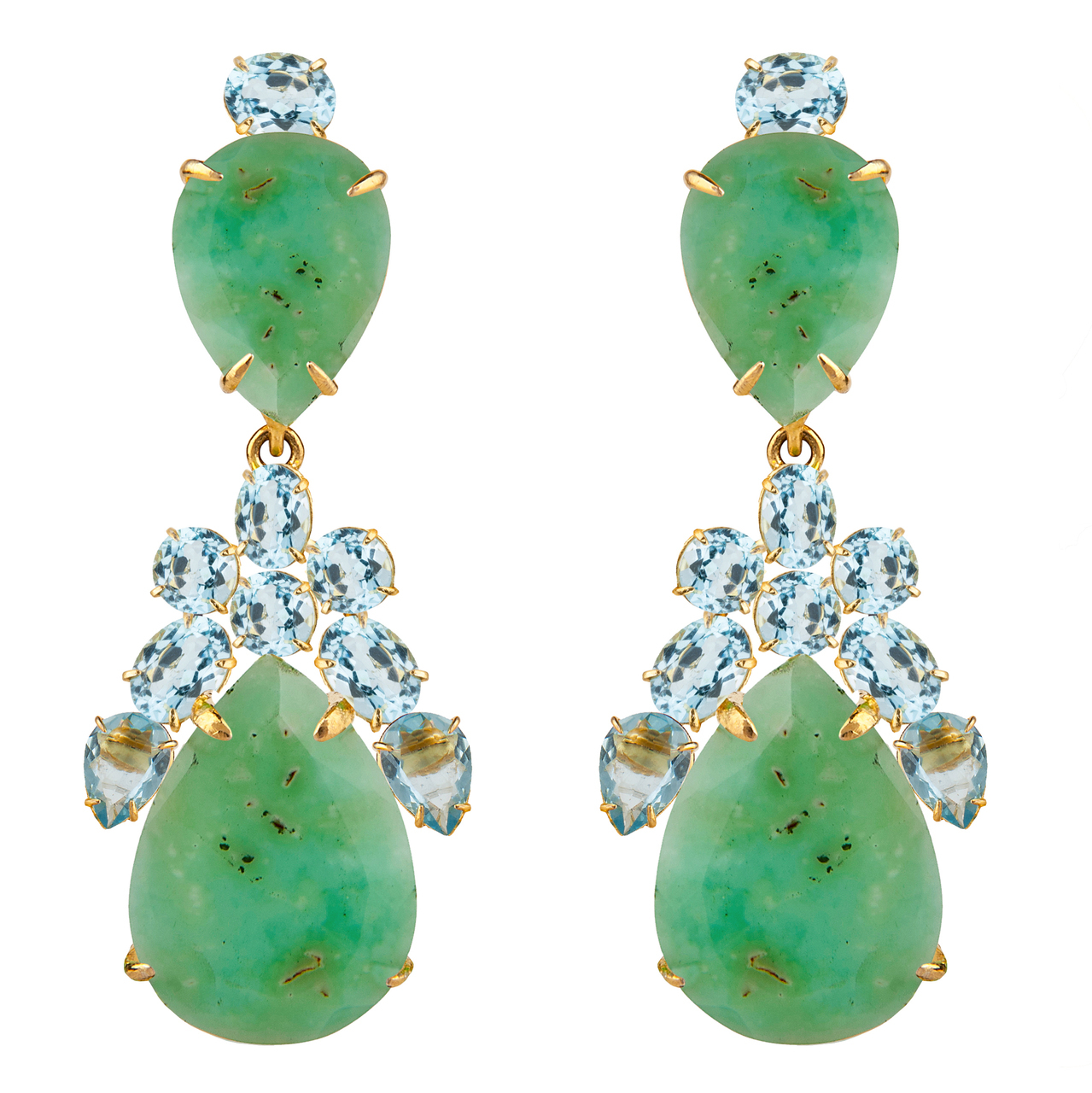 Chrysoprase Drop Earrings by BOUNKIT