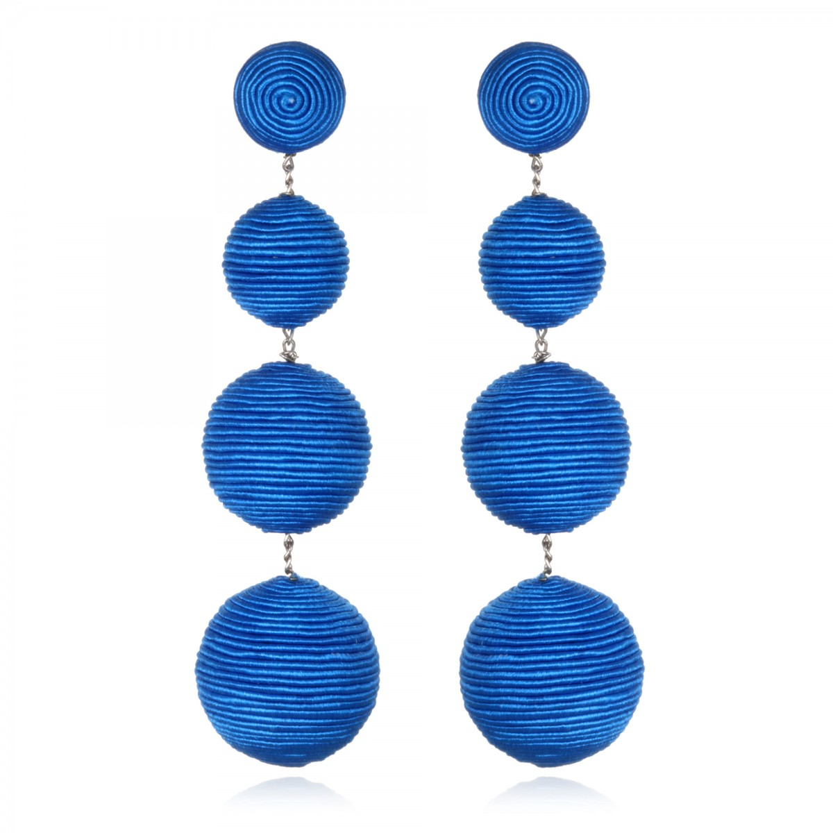 Blue Silk Gumball Earrings by SUZANNA DAI