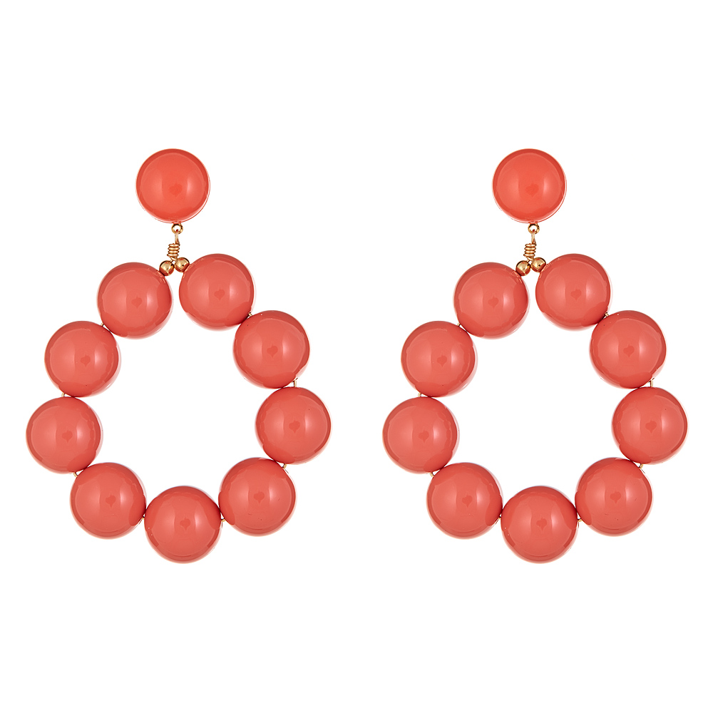 Coral Ball Hoop Earrings by KENNETH JAY LANE