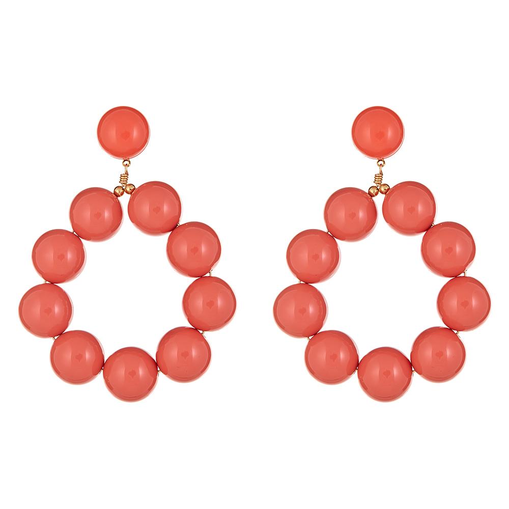 Coral Ball Hoop Earrings by KENNETH JAY LANE