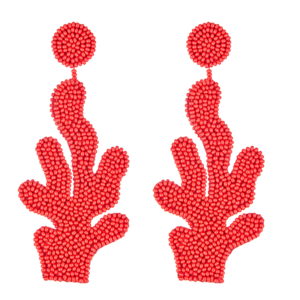 Coral Beaded Branch Earrings by FRENCH AND FORD
