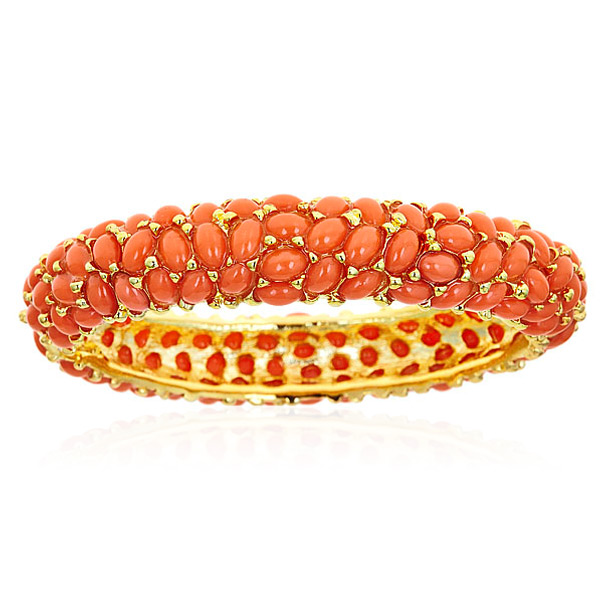 Coral Cabochon Bangle  by KENNETH JAY LANE