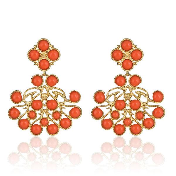 Coral Chandelier Earrings by Kenneth Jay Lane