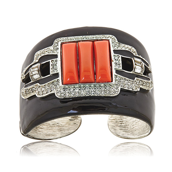 Coral Deco Cuff Bracelet by KENNETH JAY LANE