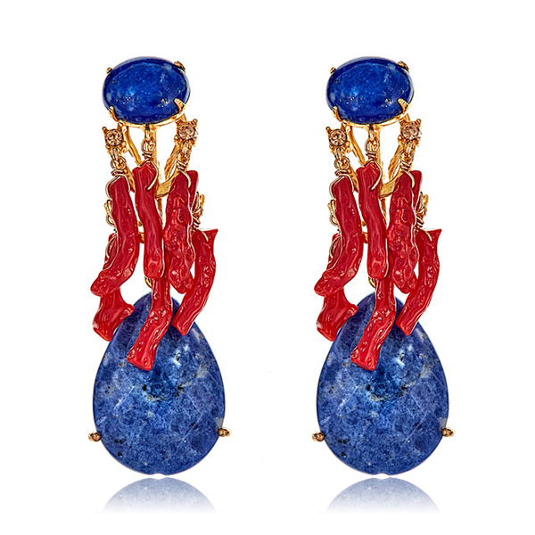 Lapis Coral Earrings