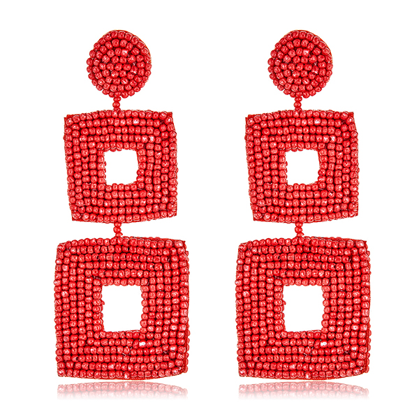 Coral Drop Seed Bead Earrings by KENNETH JAY LANE