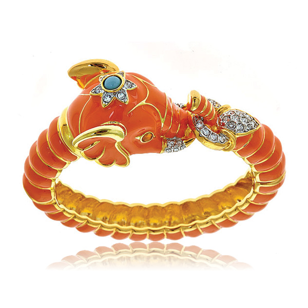 Coral Elephant Bracelet by KENNETH JAY LANE
