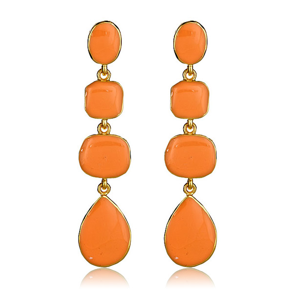 Coral Enamel Drop Earrings by KENNETH JAY LANE