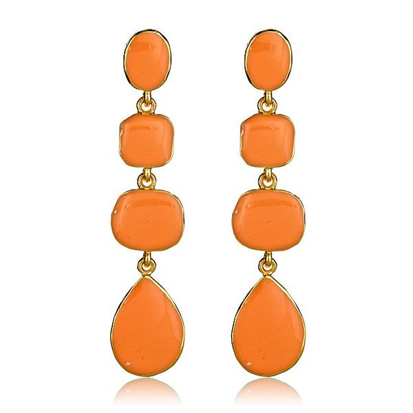 Coral Enamel Drop Earrings by Kenneth Jay Lane