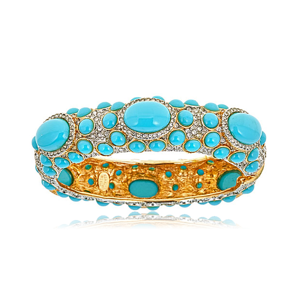 Turquoise Pave  Cabochon Bangle by KENNETH JAY LANE