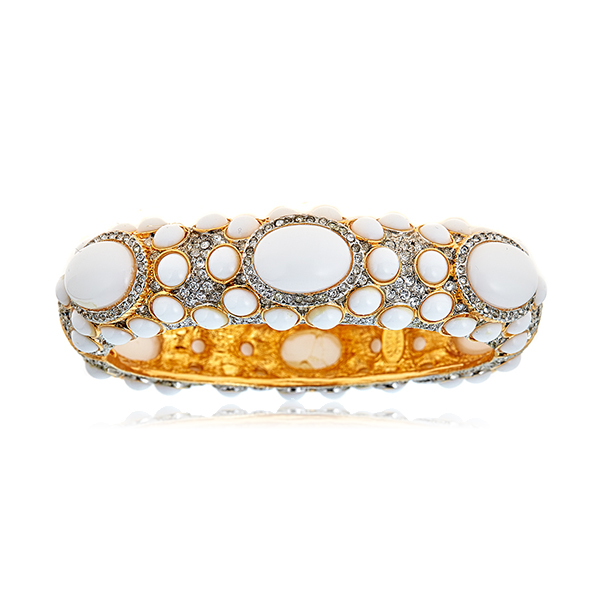 White Cabochon Crystal Bangle  by KENNETH JAY LANE
