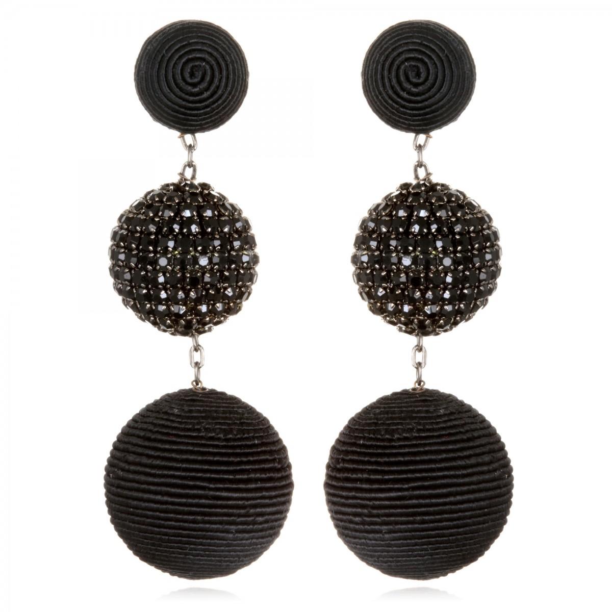 Black Beaded BonBon Earrings by SUZANNA DAI