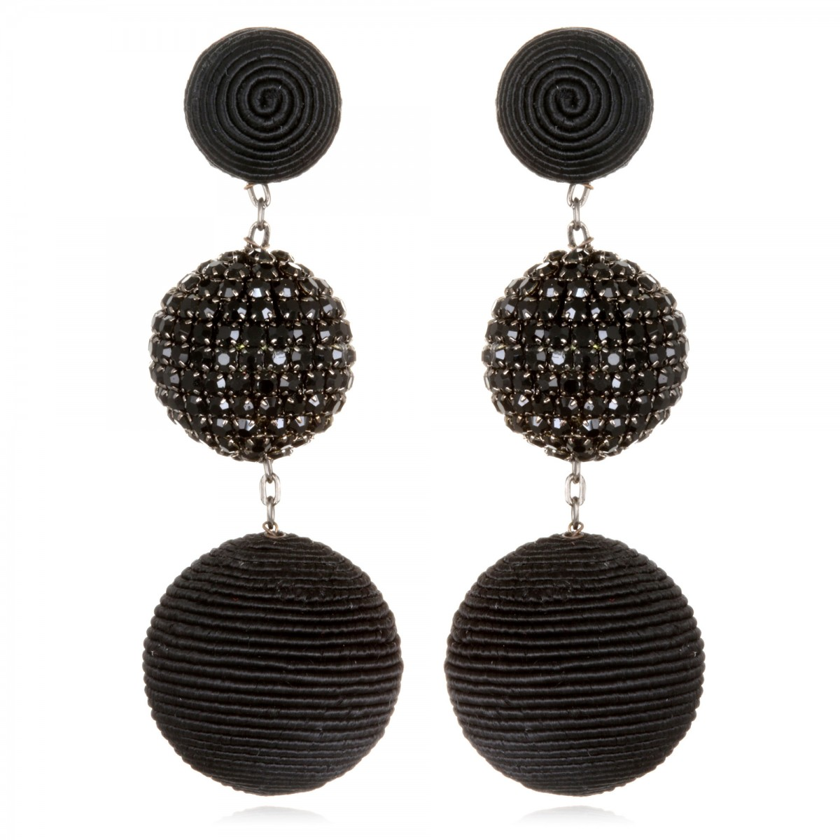 Black Beaded BonBon Earrings by SUZANNA DAI
