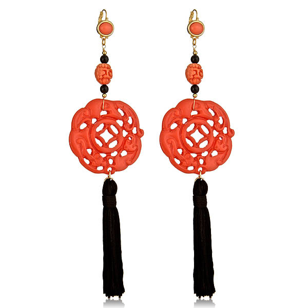 Coral Tassel Earrings by KENNETH JAY LANE