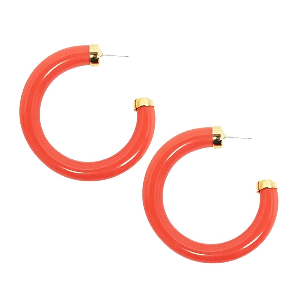 Coral Tube Hoops by KENNETH JAY LANE