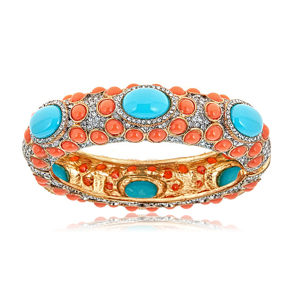 Coral Turquoise Cabochon Bangle by KENNETH JAY LANE