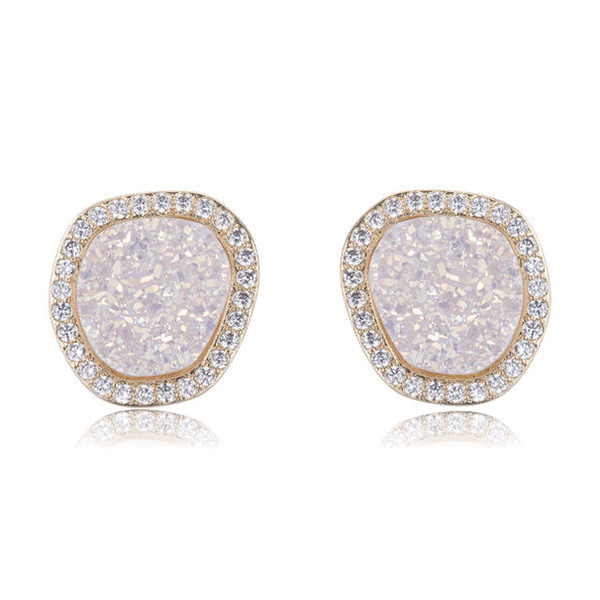 Cosmo White Druzy Stud Earrings by MARCIA MORAN