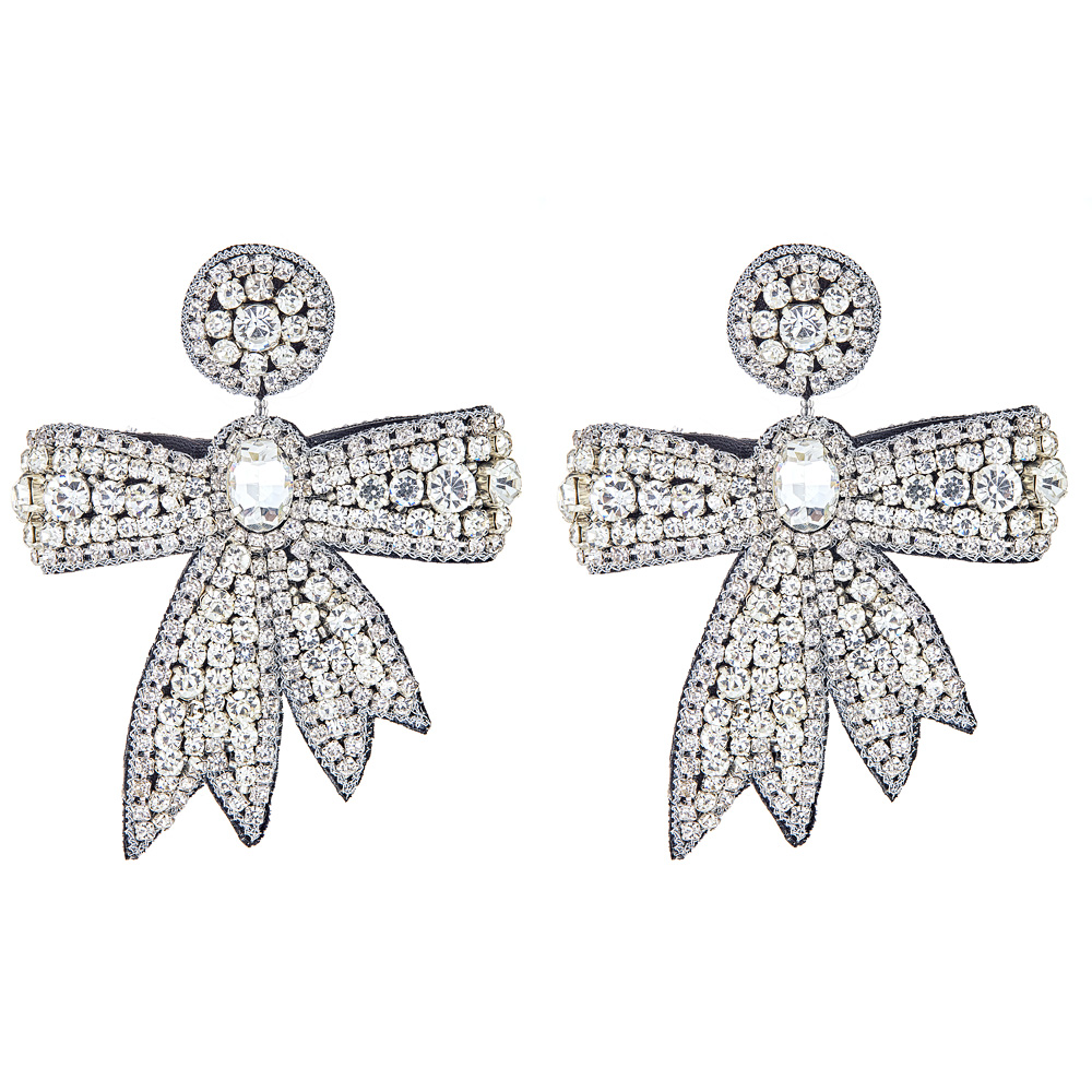 Crystal Fifi Bow Earrings by FRENCH AND FORD