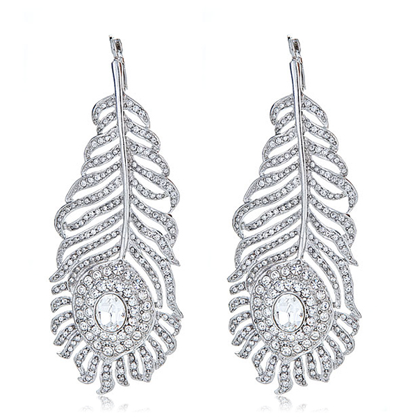 Crystal Feather Earrings by KENNETH JAY LANE