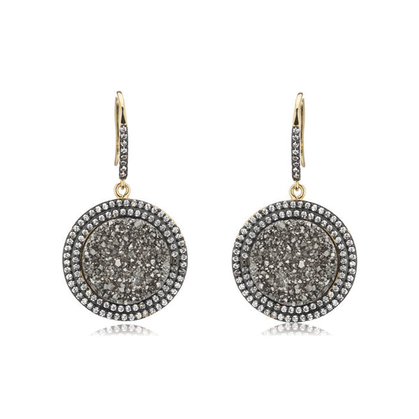 Dangling Druzy Circle Earrings by MARCIA MORAN