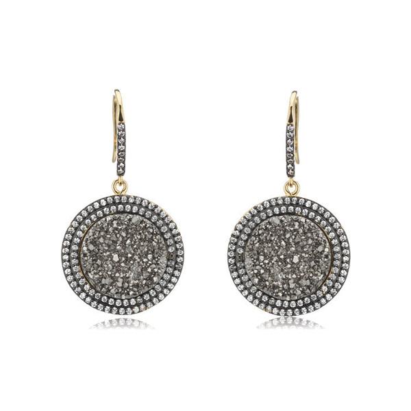 Dangling Druzy Circle Earrings by Marcia Moran
