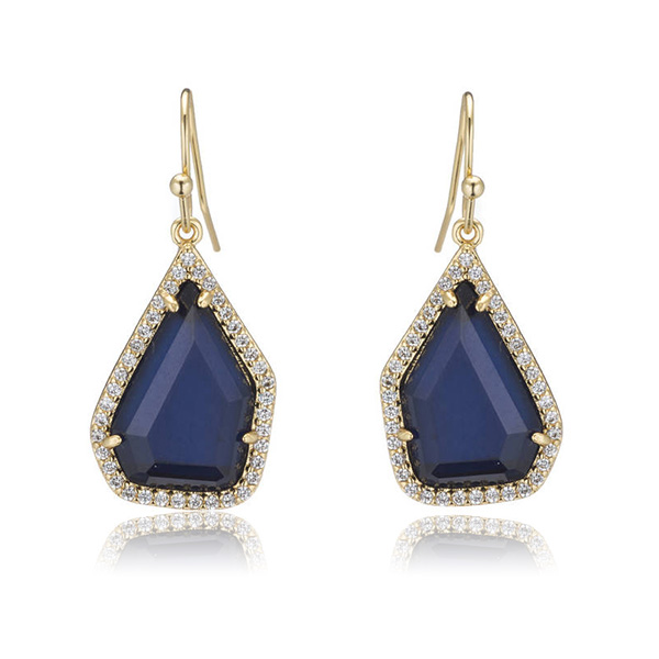 Dark Blue Cat's Eye Earrings by MARCIA MORAN