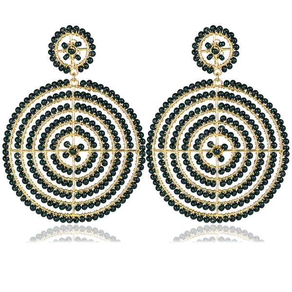 Hunter Green Disk Earrings by LISI LERCH