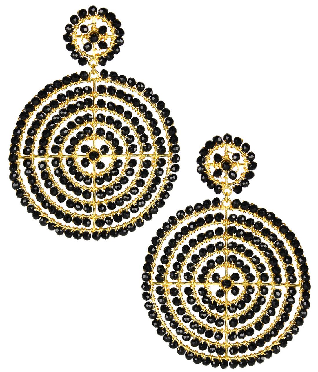 Disk Black Earrings