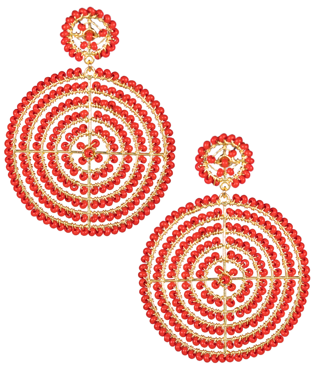 Disk Red Earrings by LISI LERCH