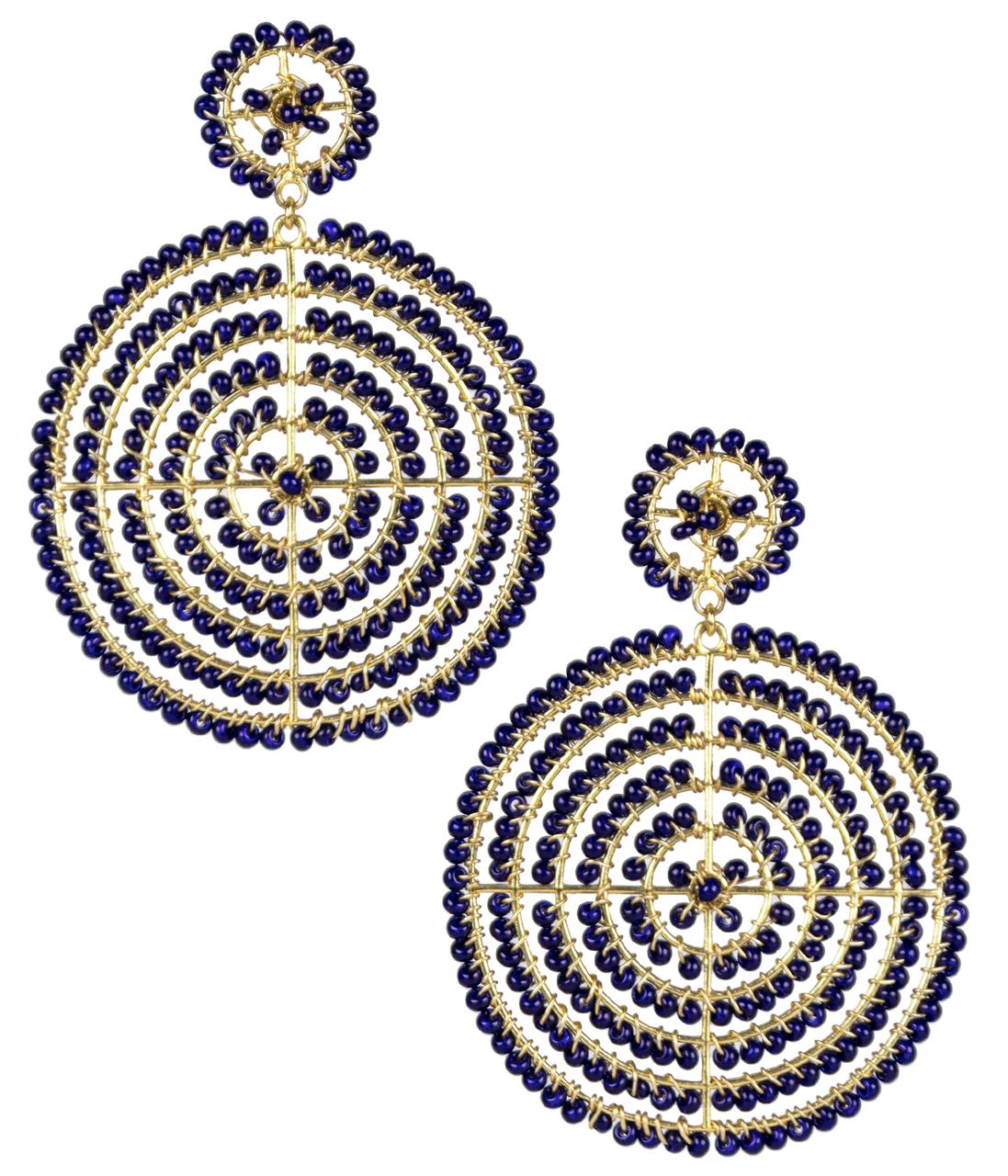 Disk Navy Earrings