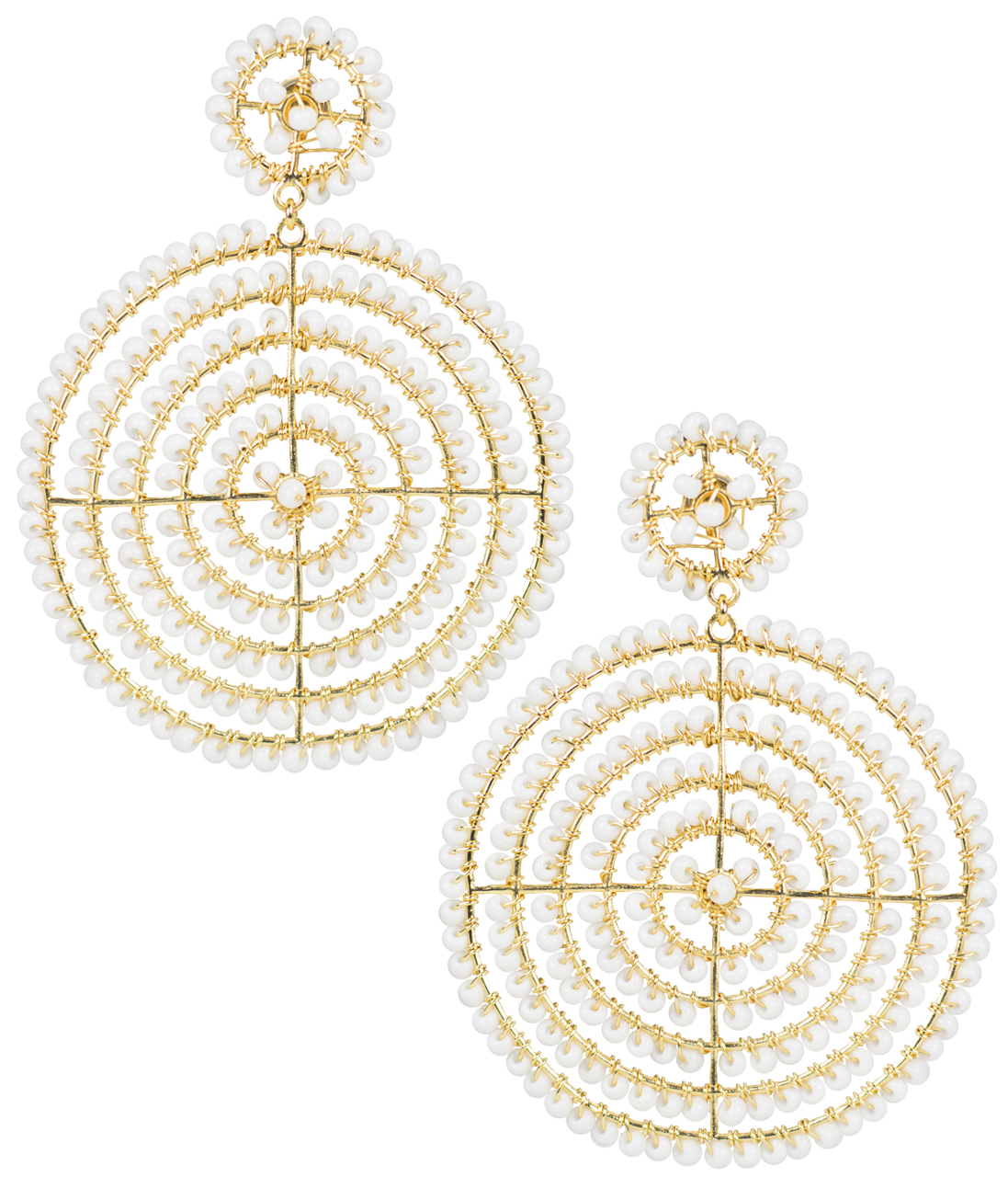 Disk White Earrings by LISI LERCH