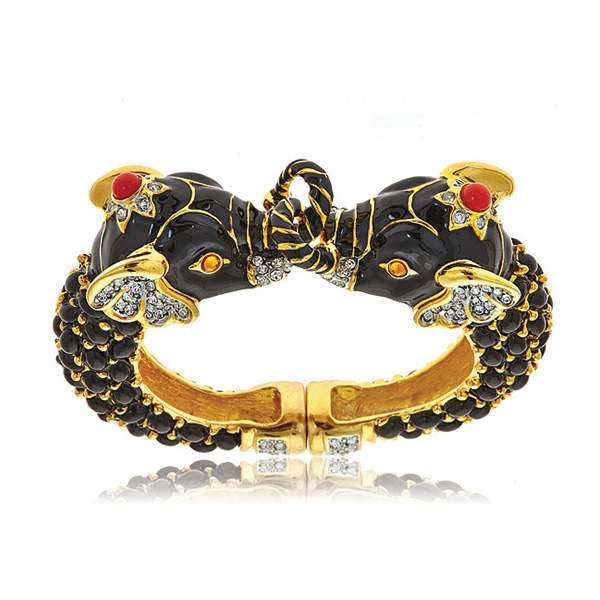 Double Black Elephant Bracelet by KENNETH JAY LANE