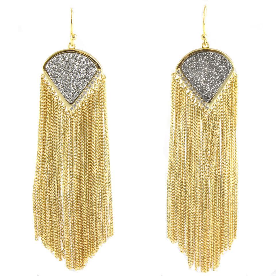 Druzy Fringe Earrings by MARCIA MORAN