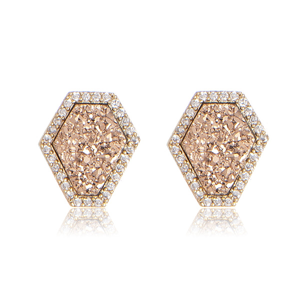 Druzy Geometric Stud Earrings by MARCIA MORAN