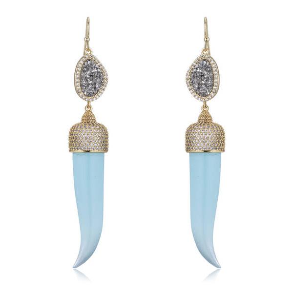 Druzy Horn Earrings by MARCIA MORAN