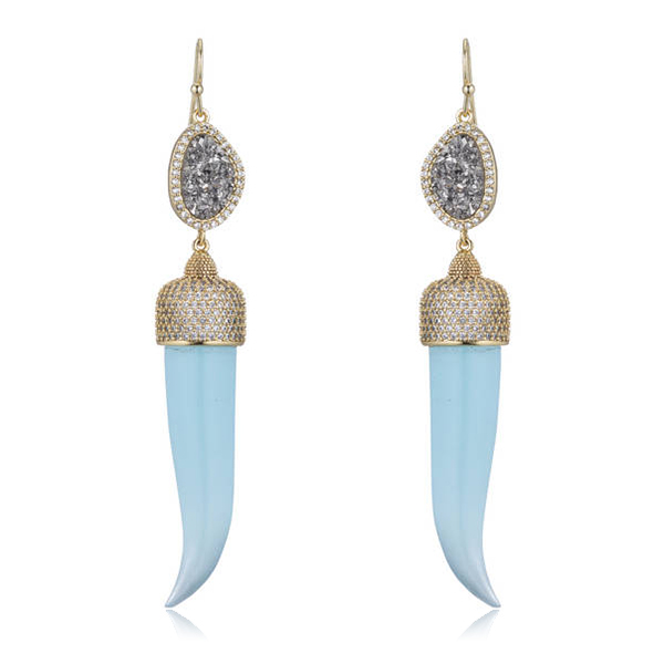 Druzy Horn Earrings by MARCIA MORAN