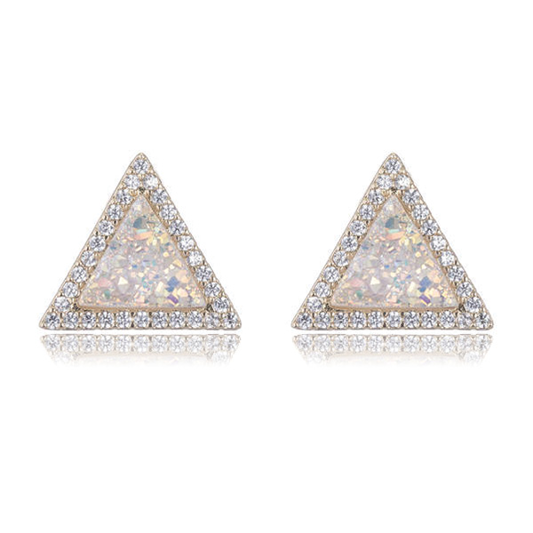 Druzy Triangle Stud Earrings by MARCIA MORAN