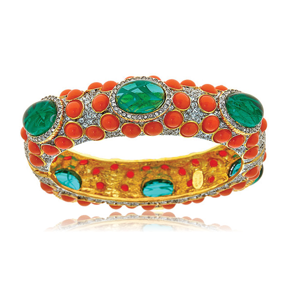 Emerald and Coral Cabs Bangle by Kenneth Jay Lane