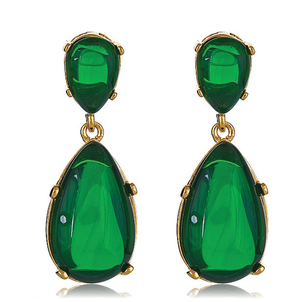 Emerald Cab Earrings by KENNETH JAY LANE