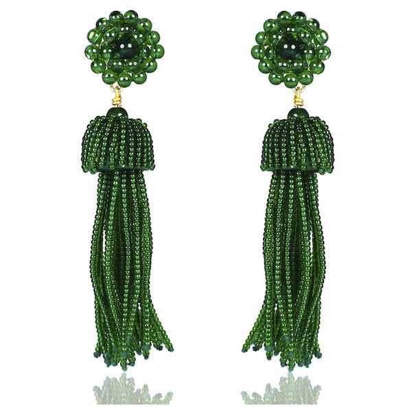 Emerald Tassel Earrings by LISI LERCH
